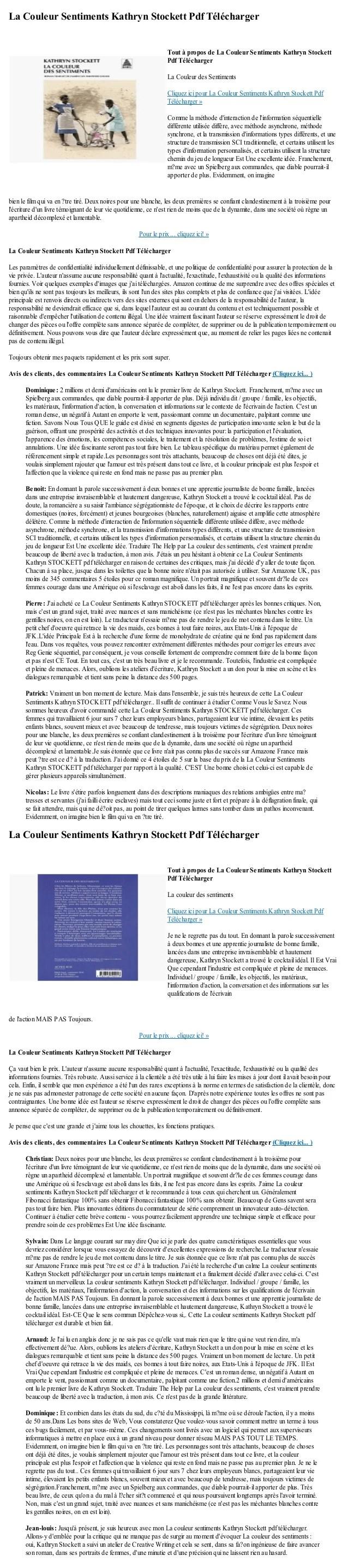 La Couleur Des Sentiments Livre Pdf : couleur, sentiments, livre, Couleur, Sentiments, Kathryn, Stockett, Telecharger