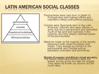 latin social america classes american revolutions independence peninsulares spain century were
