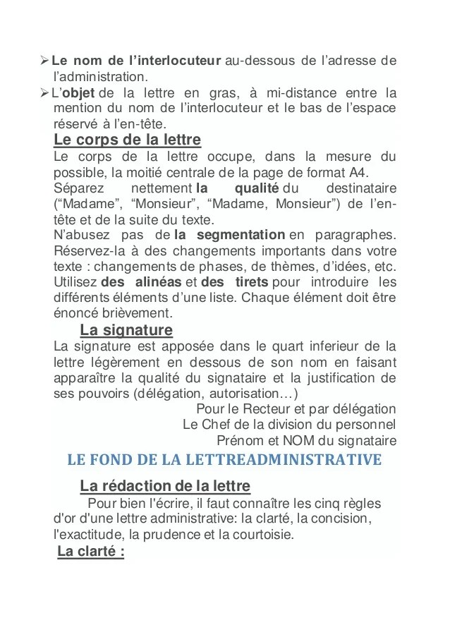 lettre administrative forme