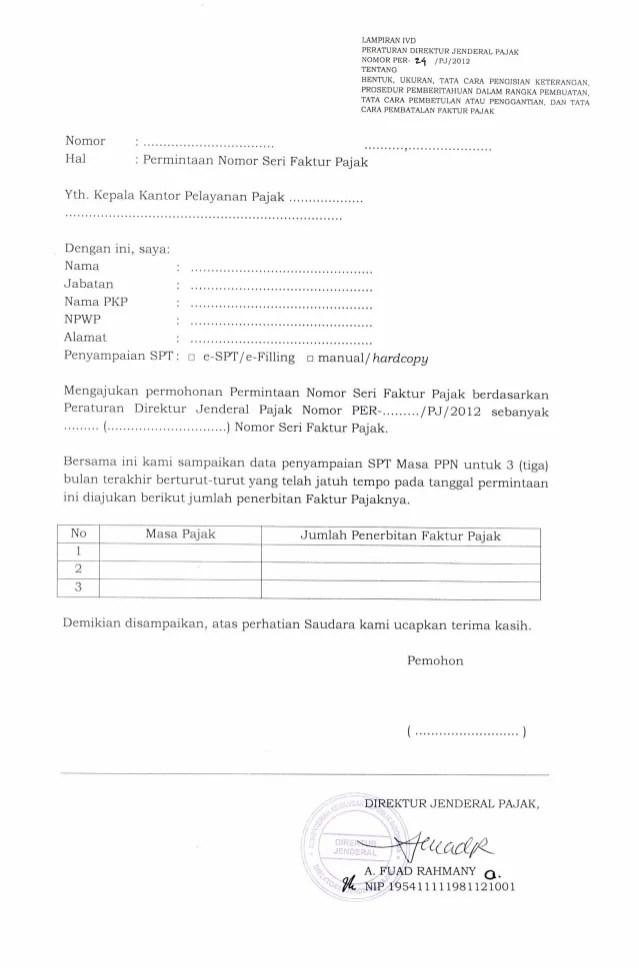 Cara Meminta Nomor Seri Faktur : meminta, nomor, faktur, Permintaan, Nomor, Faktur, Pajak, Lampiran, Per_24_pj_2012