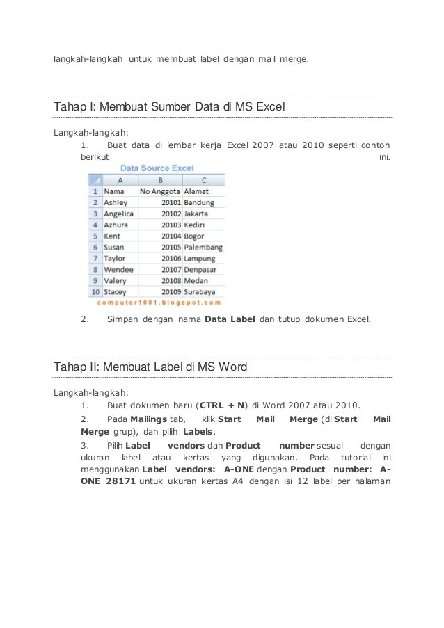 Cara Mailing Excel Ke Word 2010 : mailing, excel, Langkah, Merge, Lebih, Kertas