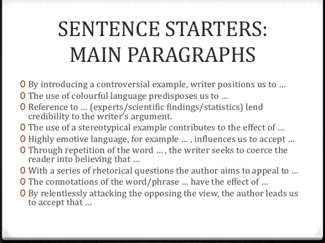 essay sentence openers I have used it for their narrative to vary sentence openers and embed use of commas good for year 4  year 2 » english » display » sentence starters.