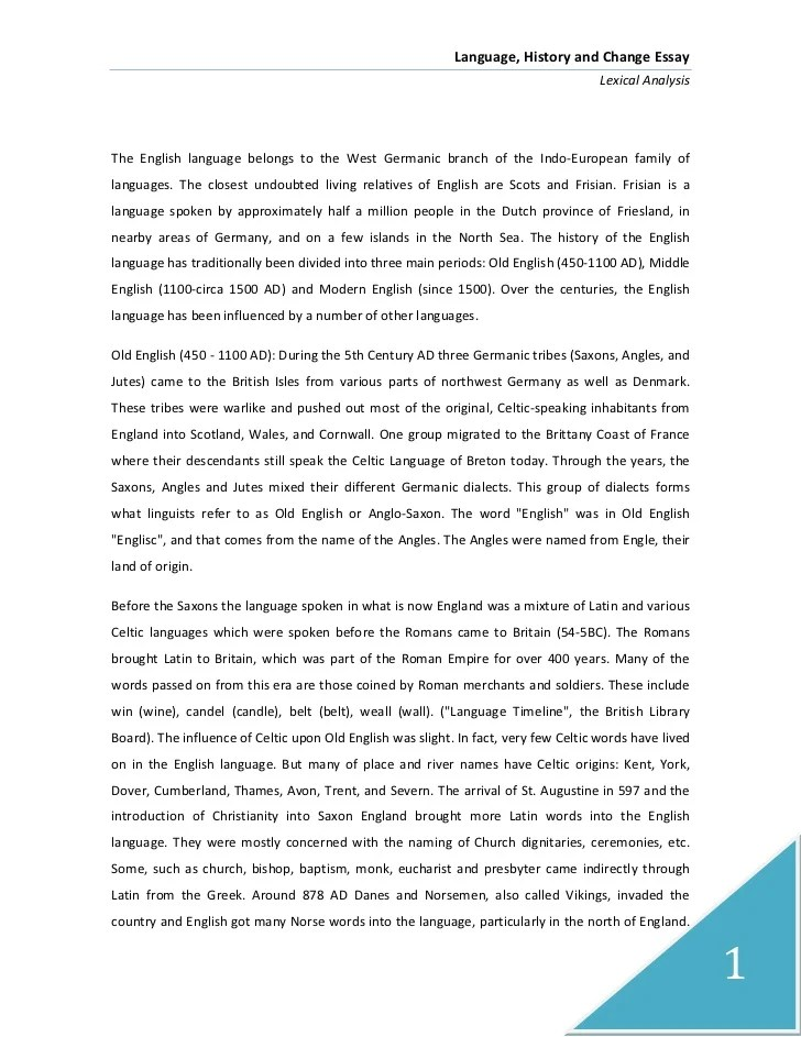 Old English Essay Language History And Change Essay Old English