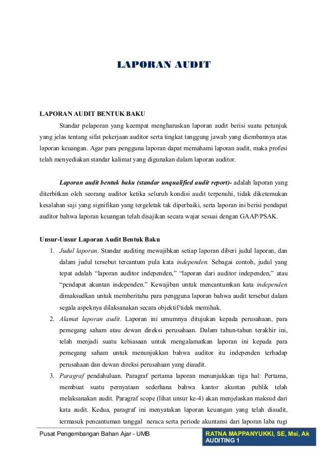 Contoh Laporan Auditor Independen Wajar Tanpa Pengecualian Berbagai Contoh Cute766
