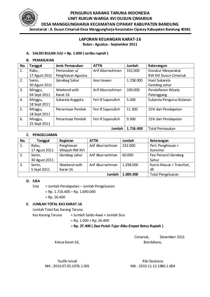 Contoh Laporan Pertanggungjawaban Keuangan Karang Taruna Kumpulan Contoh Laporan Cute766