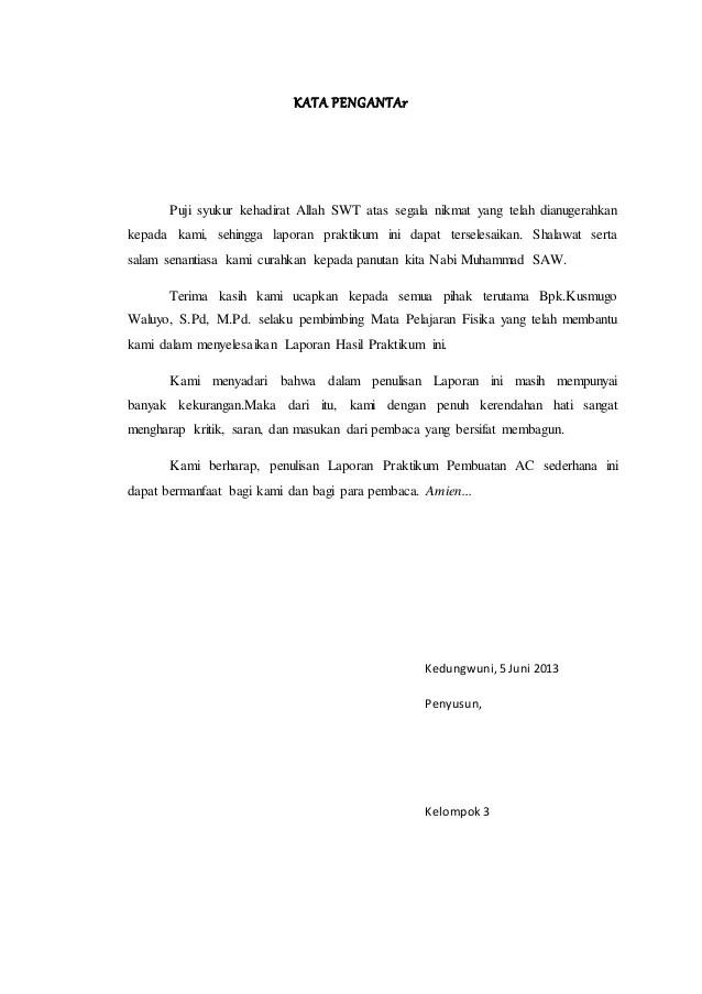 Contoh Kata Pengantar Untuk Laporan Praktikum Fisika Kumpulan Contoh Laporan Cute766