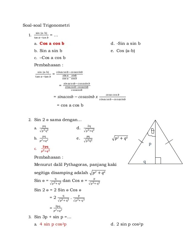 Contoh Soal Identitas Trigonometri : contoh, identitas, trigonometri, Latihan, Trigonometri, Kelas