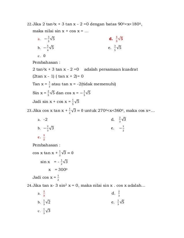 Penerapan trigonometri, multimedia pembelajaran interaktif. Latihan Soal Trigonometri Kelas Xi