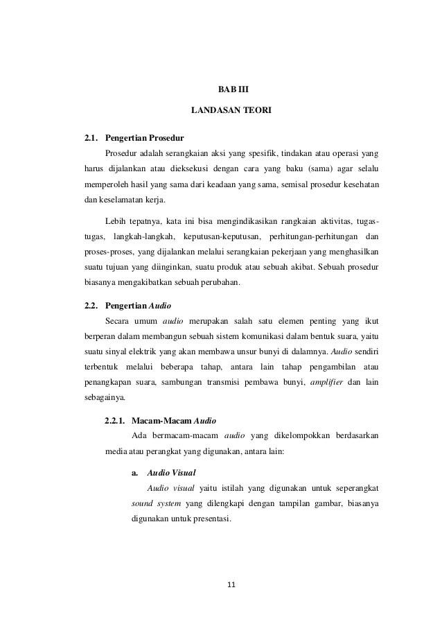 Contoh Landasan Teori Laporan PKL