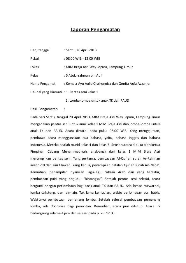 Contoh Laporan Hasil Pengamatan Lingkungan Sekolah Seputar Laporan Cute766