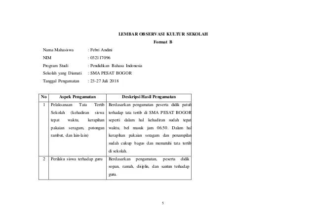 Contoh Laporan Pengamatan Tentang Halaman Sekolah Kumpulan Contoh Laporan Cute766
