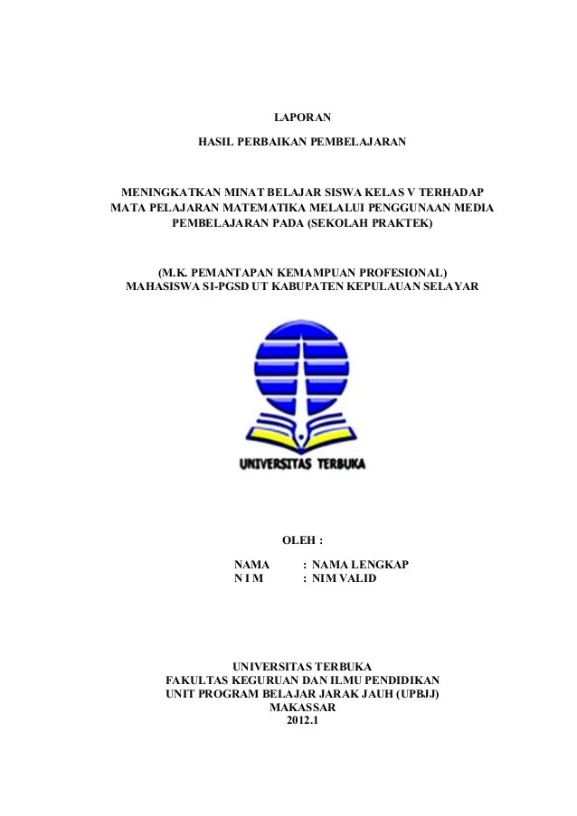 Contoh Cover Laporan Pkp Ut Kumpulan Contoh Makalah Doc Cute766
