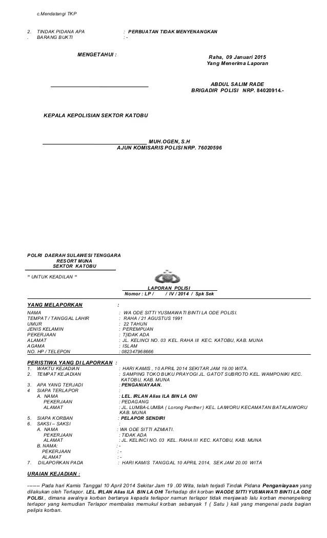Contoh Surat Laporan Pengaduan Penipuan Ke Polisi Cute766