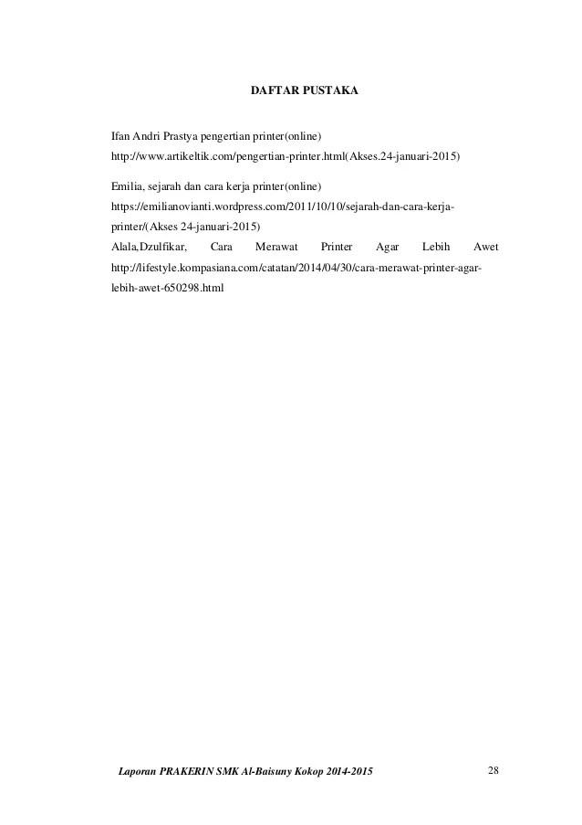 Daftar Pustaka Laporan Pkl : daftar, pustaka, laporan, Laporan, Praktek, Kerja, Industri, (prakerin), Baisuny, 2014-2015