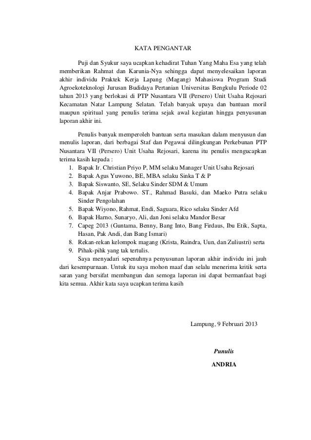 Contoh Kata Pengantar Untuk Laporan Pkl Mahasiswa Kumpulan Contoh Laporan Cute766