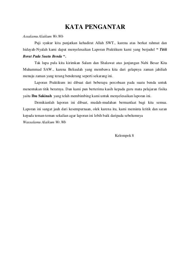 Contoh Kata Pengantar Laporan Praktikum Biologi Kumpulan Contoh Laporan Cute766