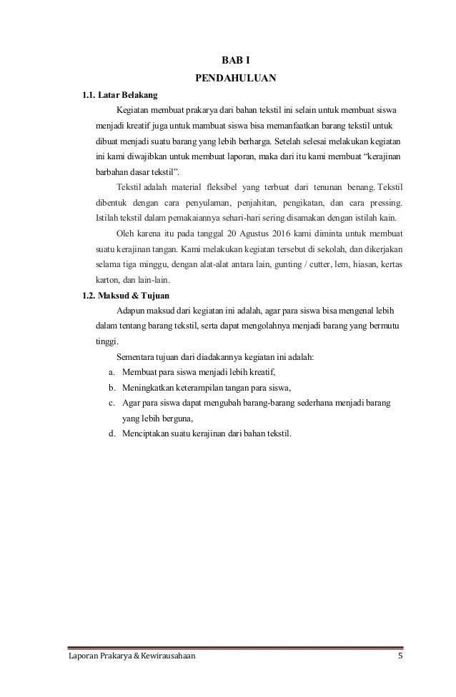 Contoh Laporan Pembuatan Kerajinan Tangan Seputar Laporan Cute766