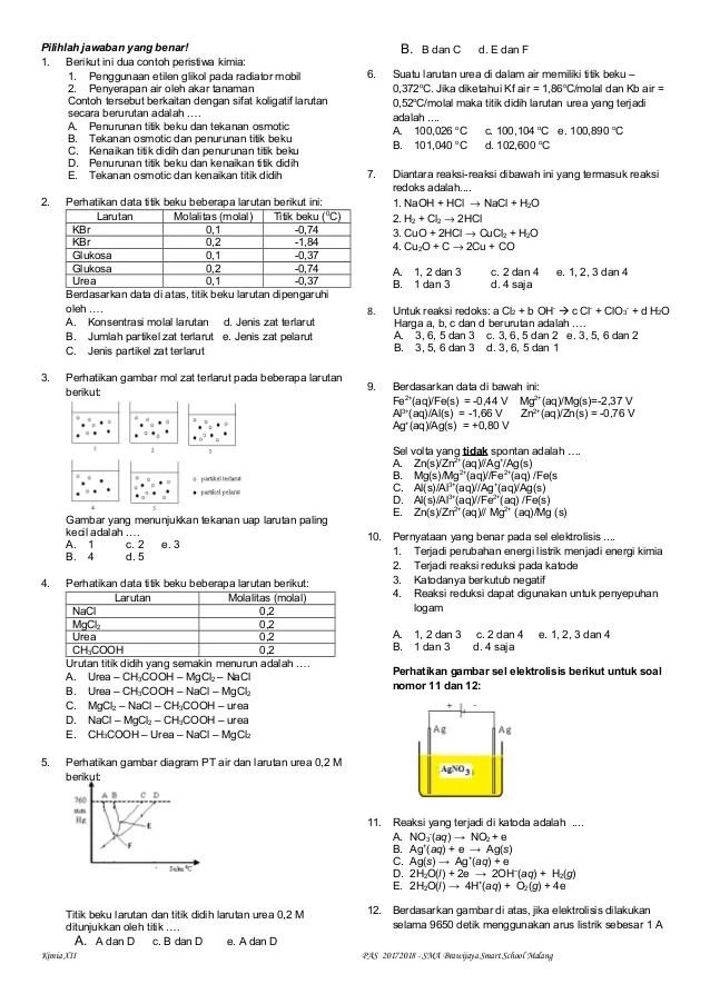 Soal Kimia Kelas 12 : kimia, kelas, Latihan, PAS/UAS, KIMIA, KELAS