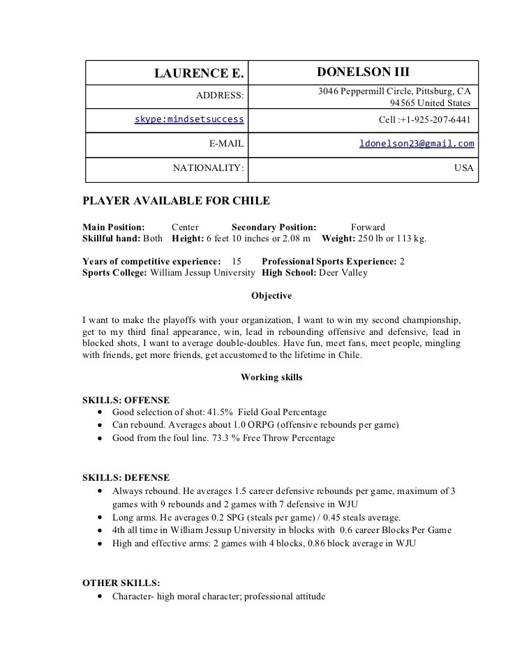 Laurence Edward Donelson Iii Professional Basketball Resume