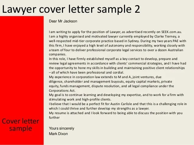 Sample Cover Letter Lawyer | Teacher Letter Of Application ...