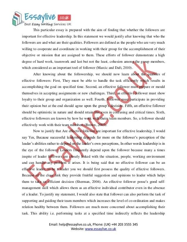 Example Of Leadership Essay 9 High School Essay Samples Leadership