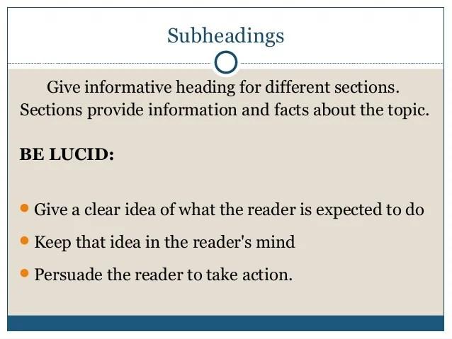 How to write headings and sub headings