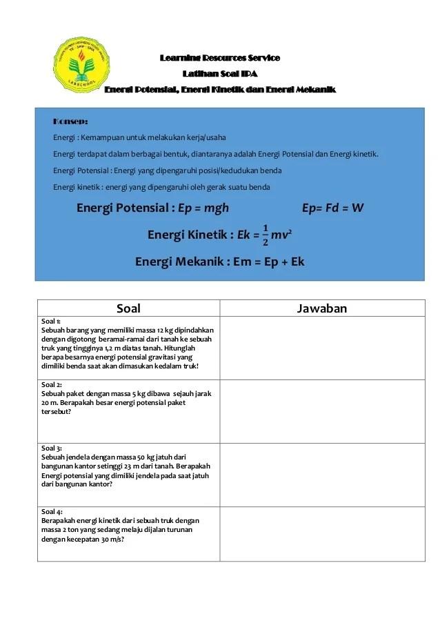 Soal Energi Kinetik : energi, kinetik, Learning, Resources, Service, (latihan