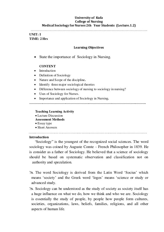 Lecture 1 Introdication Medical Sociology For Nursing