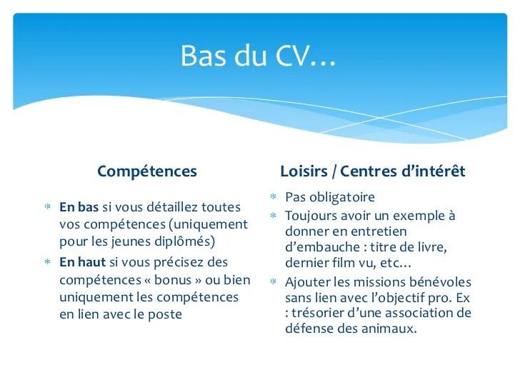 cv centres d interet exemple