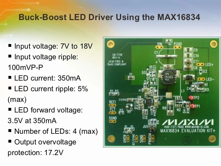 Buckboost Led Driver Using The Max16834 Reference Schematic Maxim