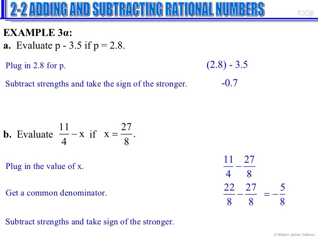Lesson 2 2 Adding And Subtracting Rational Numbers