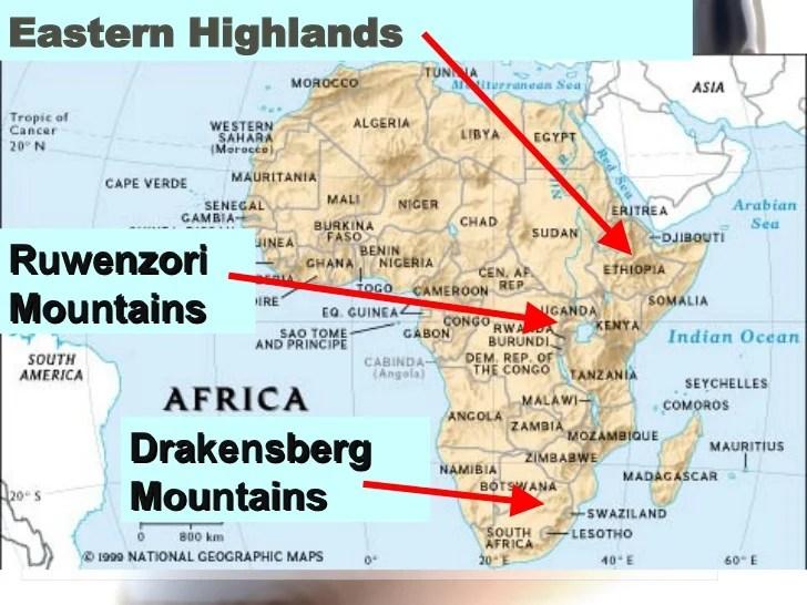 africa map drakensberg mountains