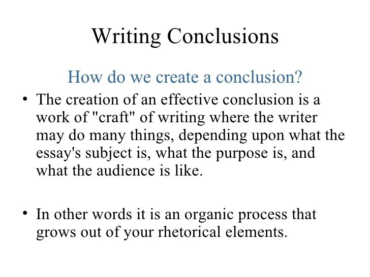 Purpose Of A Conclusion In An Essay Lesson Five Conclusions Purpose