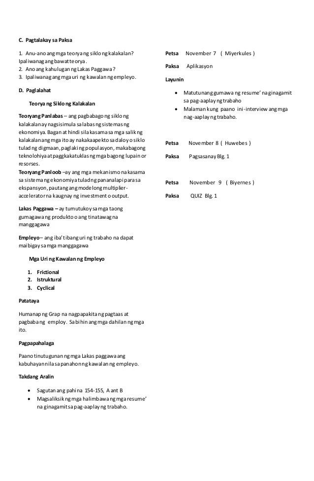 example ng paggawa ng resume