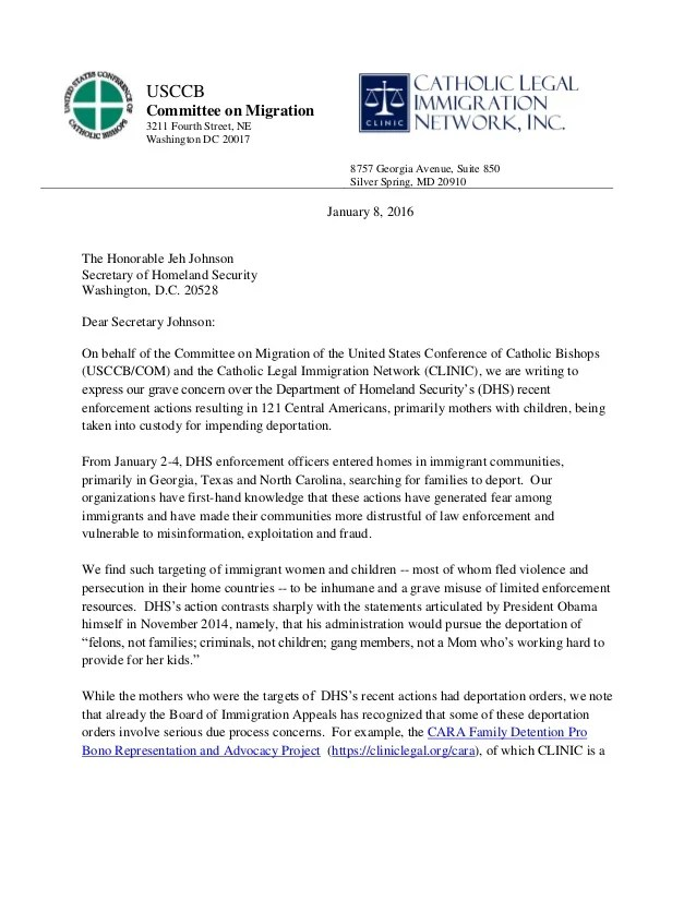 Letter to Jeh Johnson on deportations