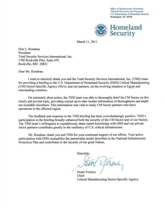 Don L Rondeau  DHS Letter of Appreciation Egypt