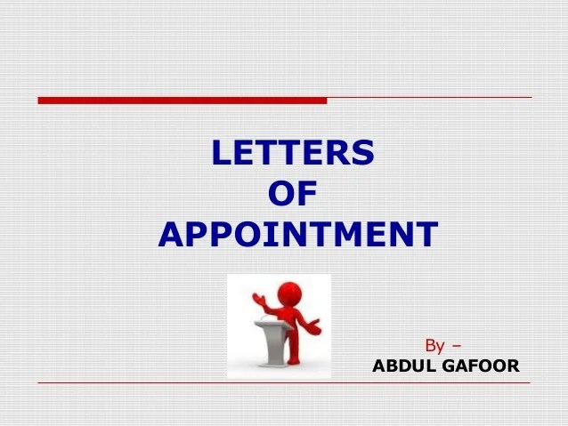 Letter of appointment by abdul gafoor