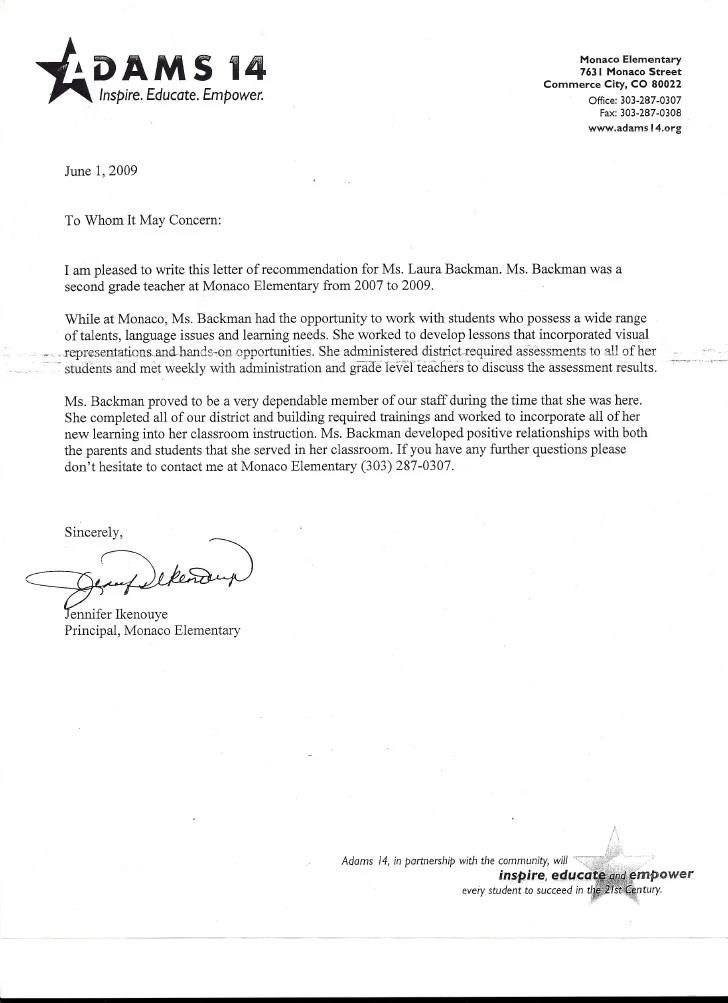assistant principal recommendation letter