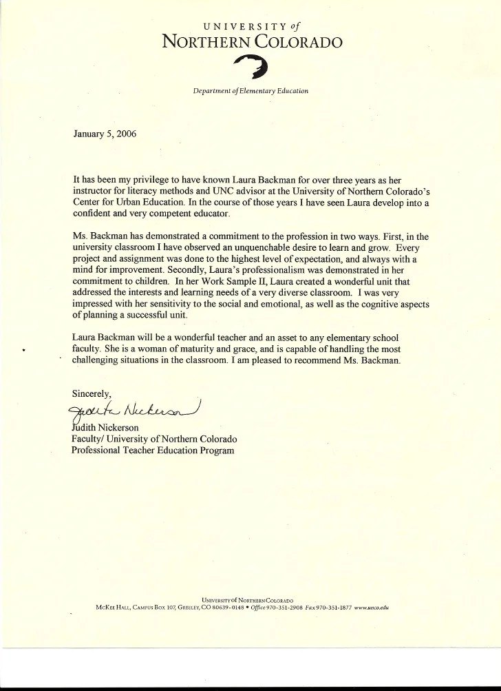 special education recommendation letter