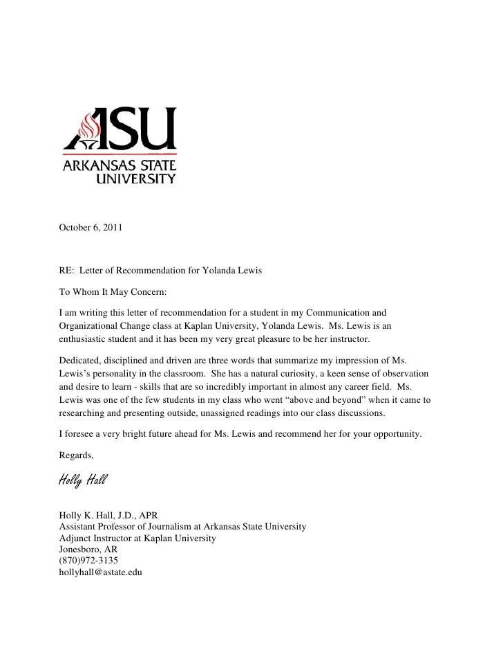 Letter Of Recommendation For Yolanda 2