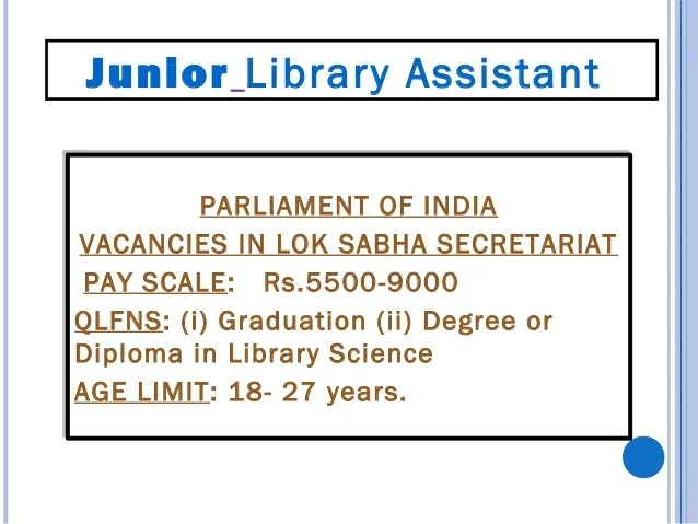Essential Qualifications: Master's Degree in Library Science of a recognized university/Institute or equivalent Five years...