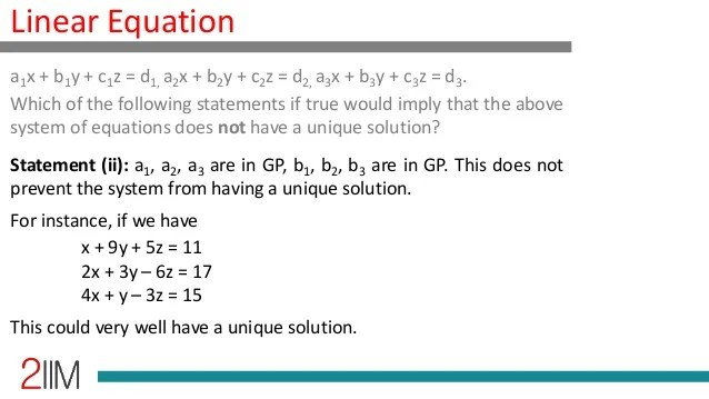 Linear Equations - Conditions for Unique Solutions