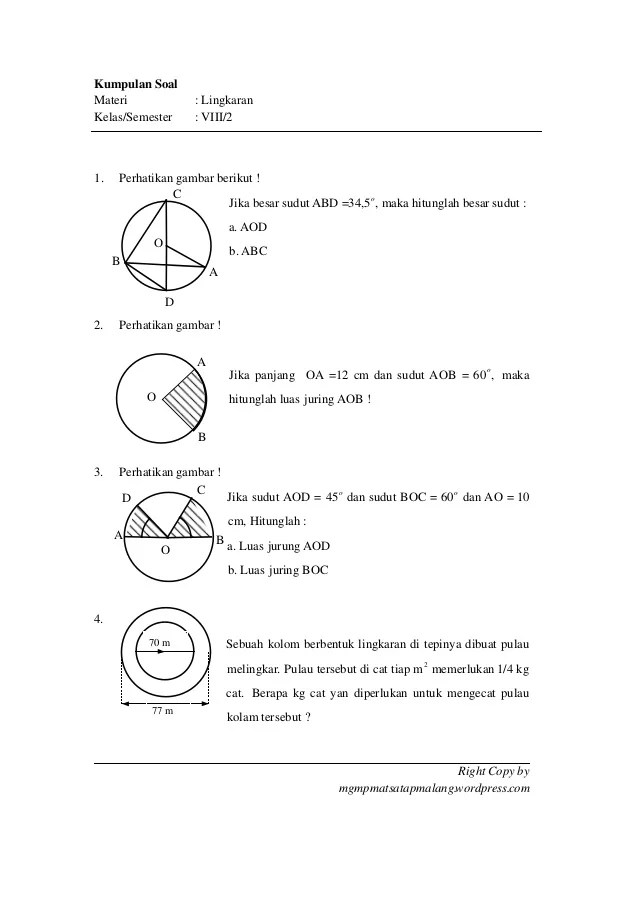 Soal Lingkaran Kelas 8 Pdf : lingkaran, kelas, Materi, Lingkaran, Kelas8