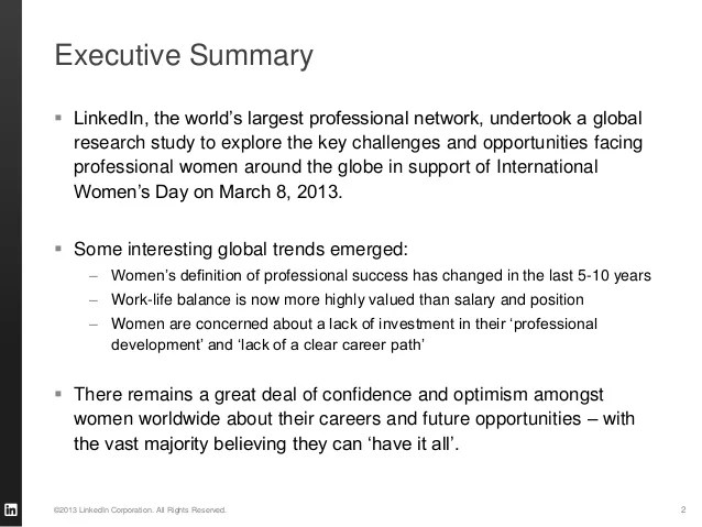 Executive Summary LinkedIn The World's