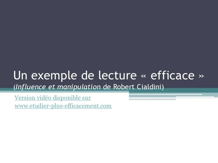 Influence Et Manipulation De Robert Cialdini Un Exemple De