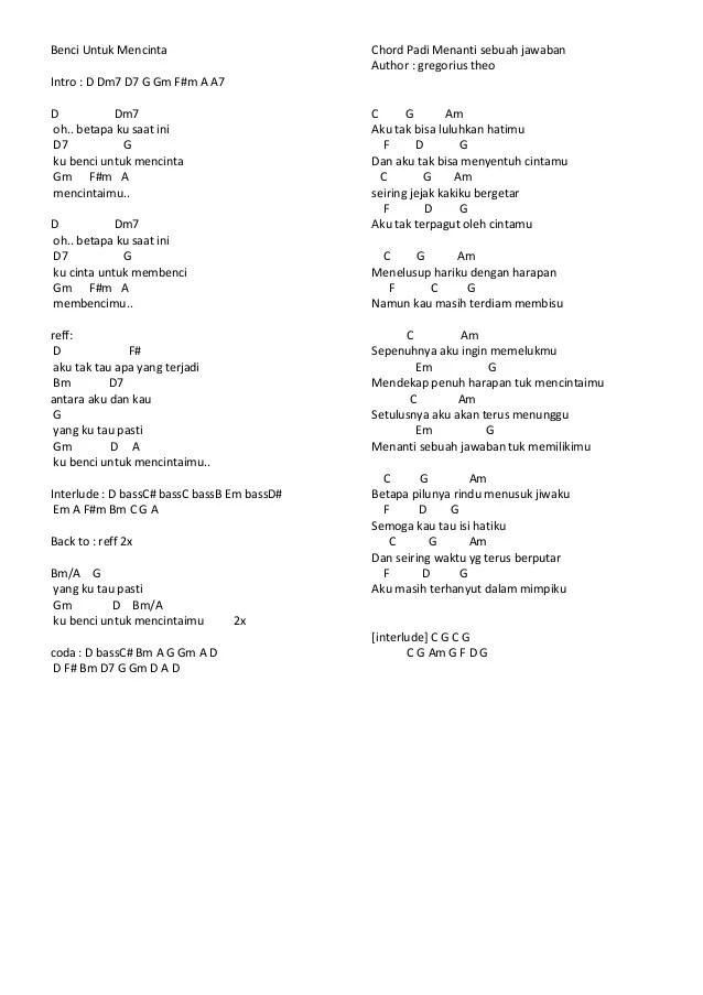 Chord Lagu Naif Benci Untuk Mencinta : chord, benci, untuk, mencinta, Chord, Cinta, Untuknya