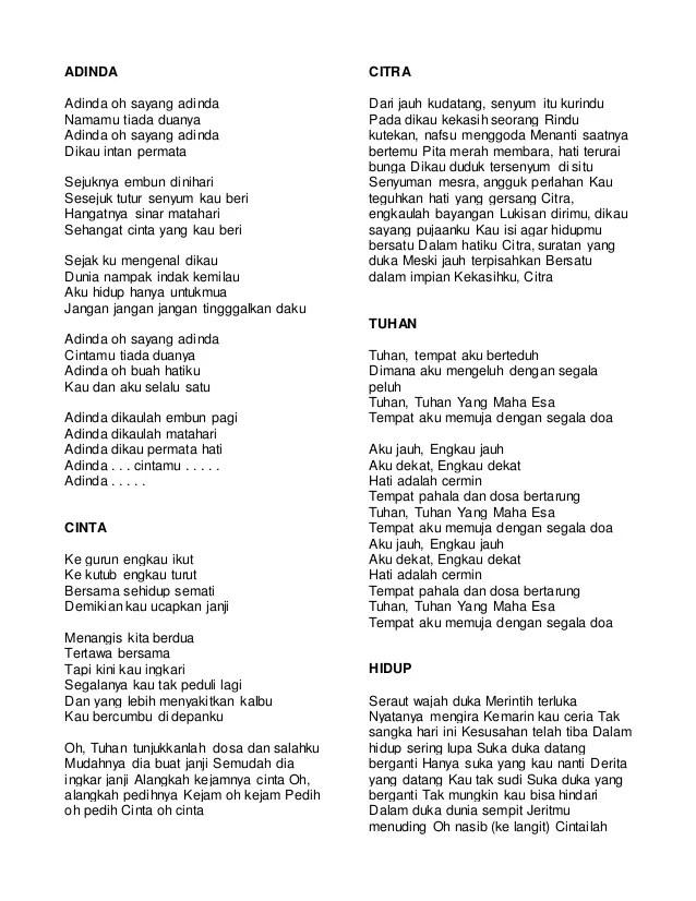 Lirik Cinta Dalam Doa : lirik, cinta, dalam, Lirik, Bimbo