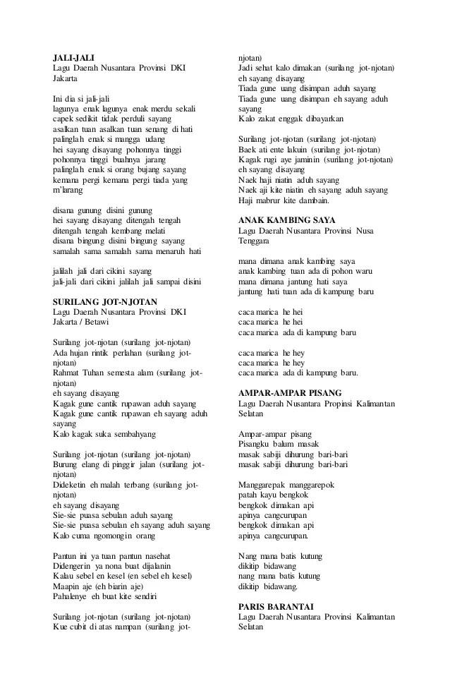 Lagu Daerah 34 Provinsi Beserta Liriknya : daerah, provinsi, beserta, liriknya, Lirik, Daerah, Provinsi, Indonesia