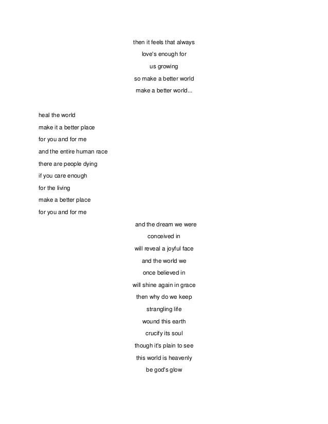 Lirik Lagu Michael Jackson Heal The World : lirik, michael, jackson, world, Lirik, World, Yuyun, Silvi, Ainniyah