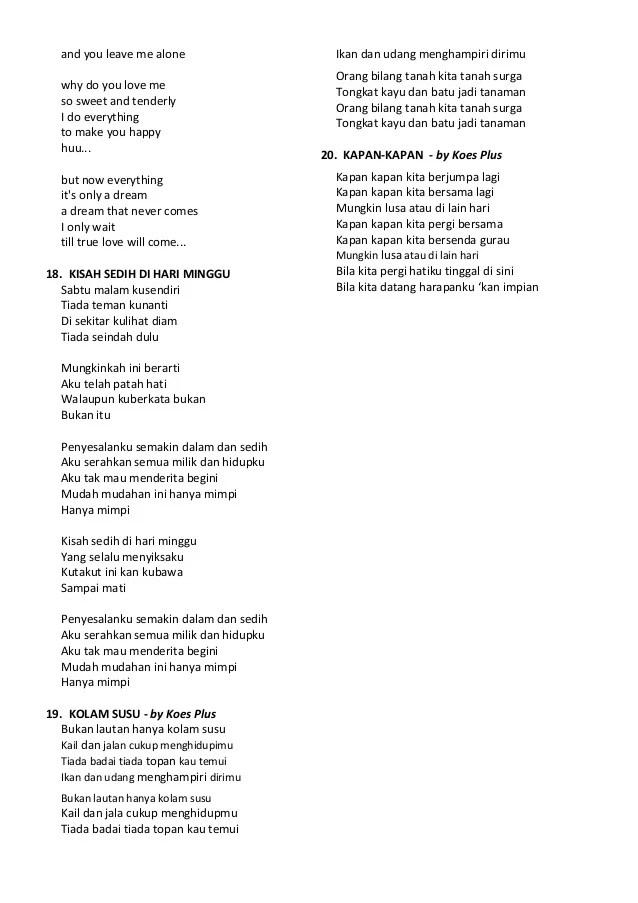 Chord Kisah Sedih Dihari Minggu : chord, kisah, sedih, dihari, minggu, Bukan, Kolam, Lirik, KOLAMA